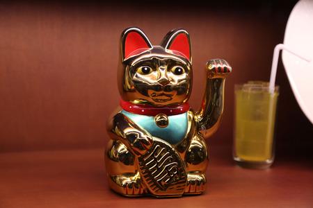 Gold Maneki Neko Japan Lucky Cat photo