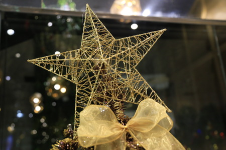 topper: Gold Wire Star Christmas Tree Topper Stock Photo