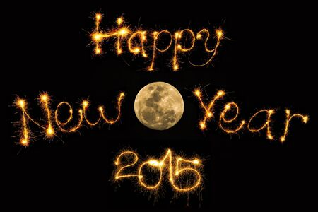 turns of the year: Happy New Year 2015 with Full Moon. Stock Photo
