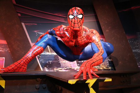 spiderman: Bangkok, Thailand - October 26, 2014 : Spiderman waxwork figure 2 -Madame Tussauds Siam