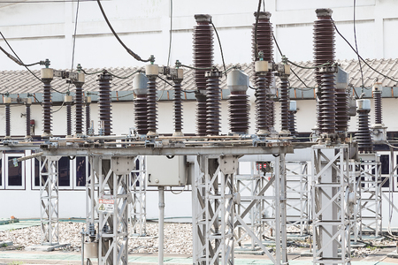 isolator insulator: Industry power-plant with high voltage power-line