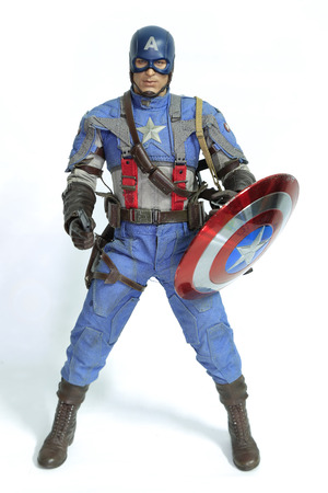 Bangkok, Thailand - March 30, 2016 : Captain America figure isolated white background. Photo by Edmund Haralson. Publikacyjne