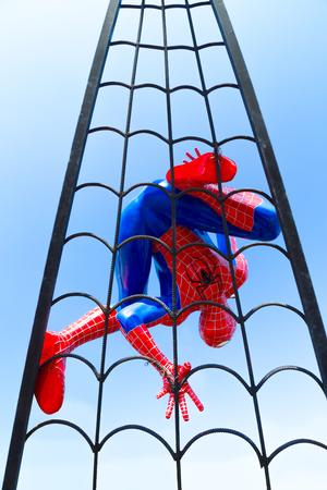 web crawler: Lopburi, Thailand - January 2, 2015 : Spider-Man Web Crawler Model against blue sky at Khrua Bannok.
