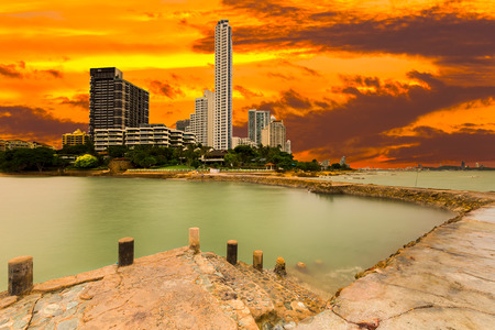 amat: View of skyscrappers at Wong Amat beach tourist attraction in Pattaya,Thailand. Stock Photo