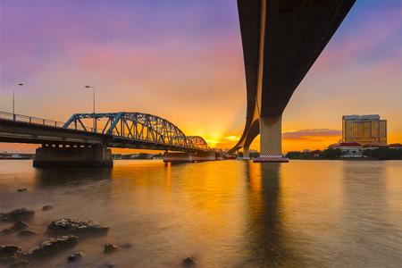 Krungthep Bridge construction with steel.