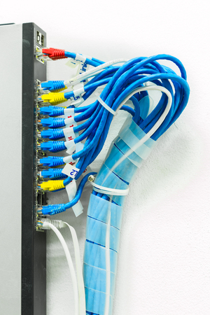 Optic fiber cables connected to data center, Has cable, fiber optic, the network of telecoms. In digital communication systems is Link.