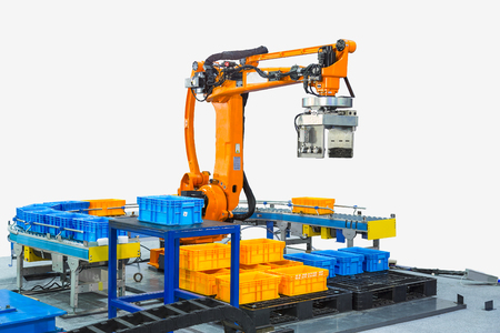 Controller of industrial robotic arm for performing, dispensing, material-handling and packaging applications in production line manufacturer factory. ( With clipping path)