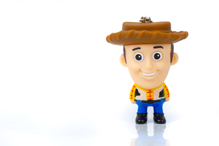 Bangkok, Thailand - March 27, 2016 : A studio shot of the Disney Infinity character Woody from the movie Toy Story.