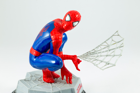 Bangkok, Thailand - March 27, 2016 : Studio shot of Spider-Man figure isolated white background.