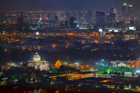 The Ananta Samakhom Throne Hall (White house) marble building famous place destination travel in Thailand. The old Thai parliament top view at night in Bangkok.