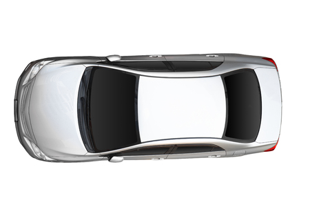 Top view of white car isolated on white background.