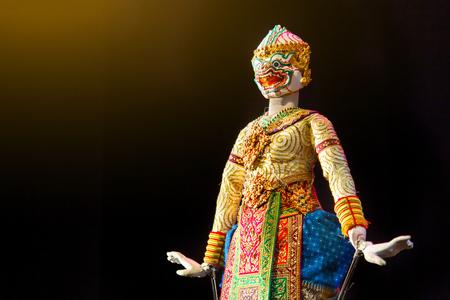 Hanuman is one of the characters in the Ramayana Thai Khon epic literature, a white monkey of Rama. 版權商用圖片