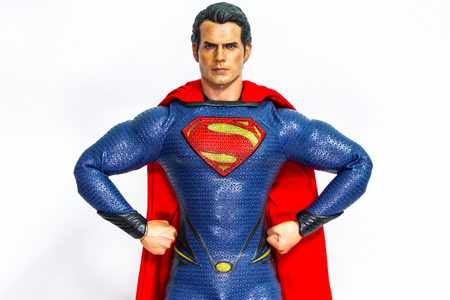 Bangkok, Thailand - March 27, 2016 : Fiction character of SUPERMAN from DC movies and comic. SUPERMAN action figure toys in various size display for public.