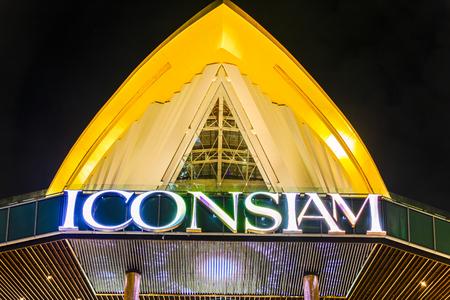 Bangkok, Thailand - November 9, 2018 : ICONSIAM shopping mall logo display at night time.