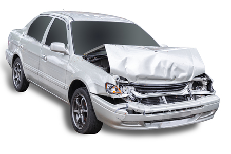 White car get damaged by accident on the road. Isolated on white background. 版權商用圖片