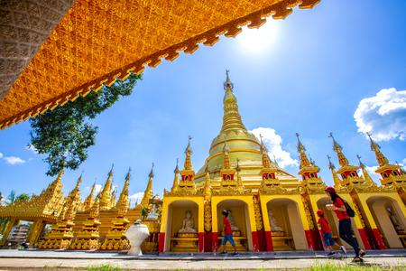 Myanmer famous sacred place and tourist attraction landmark - Shwedagon Paya pagoda. Yangon, Myanmar.