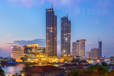 Bangkok, Thailand - November 9, 2018 : Grand opening IconSiam 1,500 drone beautiful light show 2018.