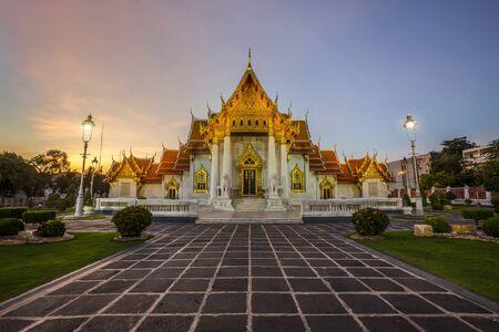 Beautiful Thai Marble Temple (Wat Benchamabophit) during twilight