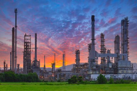 Oil Refinery factory at sunrise. 写真素材