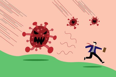 Businessman run away from COVID-19 virus pathogen disease outbreak, risk or danger in Virus crisis concept.