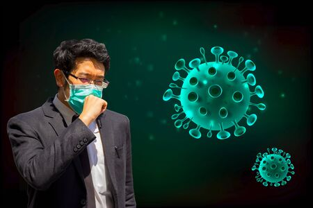A man wearing mouth mask against the corona virus. The coronavirus outbreak is an ongoing outbreak of coronavirus disease 2019 (COVID-19) has spread to the world.