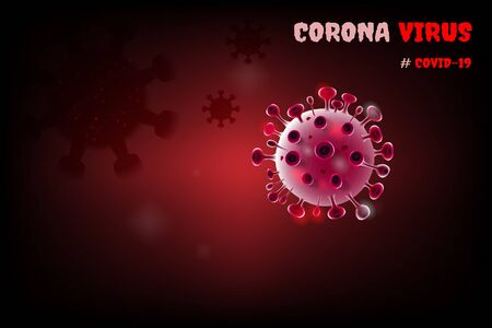 Image of COVID-19 virus cell under the microscope on the blood. Coronavirus outbreak influenza background. Pandemic medical health risk concept with disease cell. Ilustracja