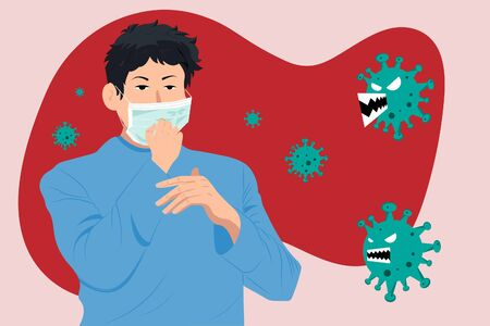 A man wearing mouth mask against the Coronavirus (CoVID-19). Ilustracja