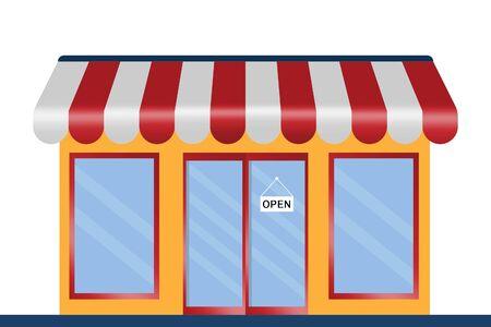 Flat design restaurant and shop facade icon store. Ilustración de vector