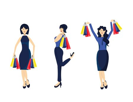 Set of smiling fashion women goes shopping with many packages on white background.