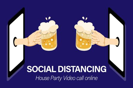 Two people hands holding beer glasses in house party. Friends having fun with video call online by smart phones. Social Distancing concept for banners, posters. Vector illustration in flat style. Zdjęcie Seryjne - 148794661