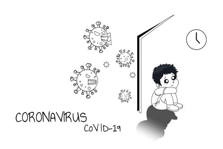 The boy hide behind the door with fear and loneliness. During Coronavirus (CoVID--19) situation.