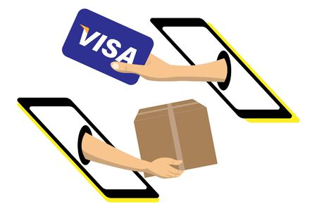 Man hand holds american credit card and pay for the package order shopping online. Payment by cash for express delivery. Zdjęcie Seryjne