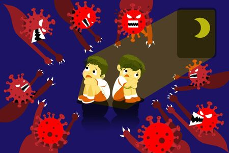 The children are scared and fear of the Coronavirus (CoVID-19) evil, who is going to hurt them. Nightmare concept.