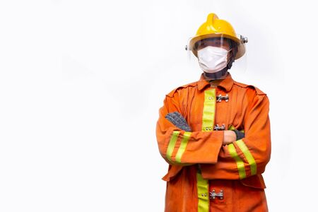 Firefighter rescue, fireman standing portrait wear protective mask to prevent coronavirus (CoVID-19) pandemic isolated on white background. Zdjęcie Seryjne - 148925433