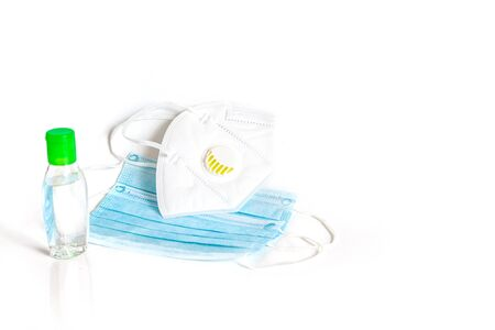 Hygienic face mask N95 and Sanitizer  Alcohol gel  hand wash to prevent COVID-19 virus isolated on white background.