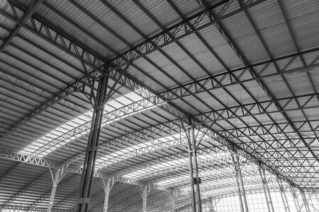 Interior architecture design of warehouse large metal roof structures of steel ceiling. Zdjęcie Seryjne
