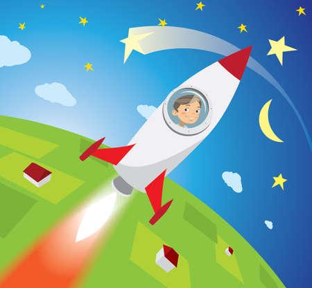 gelukkige jongensastronaut die op raket vliegen in ruimte