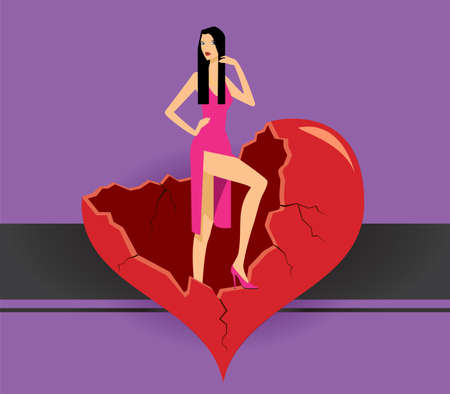 mujer estres: hermosa ni�a en vestido rosa se encuentra en el coraz�n roto