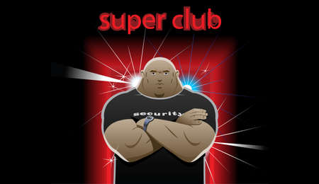 shaved head: security guard stands in front of the super club, crossed his arms over his chest