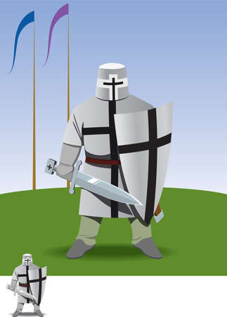 knight crusader stands with sword in hand on green field Vector