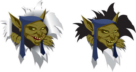 maniac: head of goblin looks out of torn paper, slyly smiling Illustration