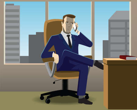 businessman sitting in chair crossed his legs on phone Vector