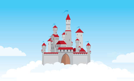 плавающий: Air castle stands in clouds with closed gates Иллюстрация