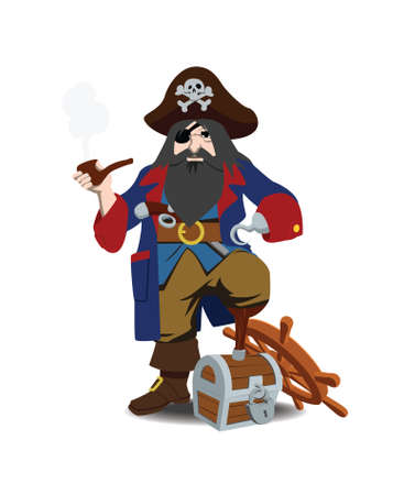 skull cap: one-legged pirate with hook, tube and pistol behind belt in hand costs has leaned wooden foot against chest, isolated