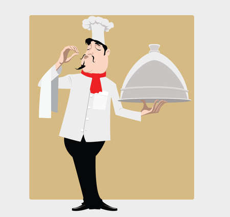 french cuisine: The cook costs with a dish praises tasty meal Illustration