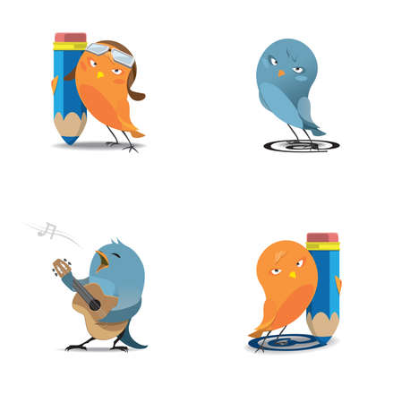Orange and blue birdies with pencils and a guitar isolated Vector