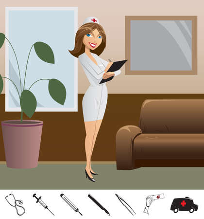 girl doctor costs in hospital, below medical icons Stock Vector - 9568531