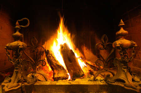 A Wooden Indoor Fire photo