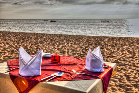 A Table is ready for Dinner at the Beach photo