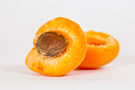 A sliced Apricot with the Stone in it